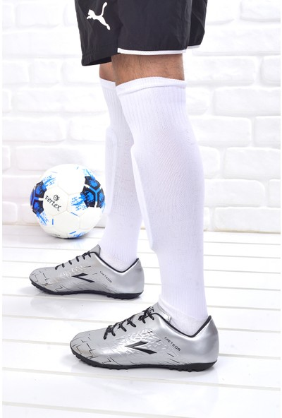 Lig Meteor Erkek Halı Saha Futbol Ayakkabısı Gümüş