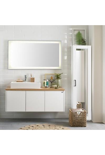 Dekorex BNY104BEYAZ Boy Ayna Kapaklı Yüksek Banyo Dolabı