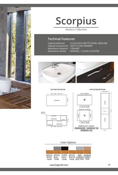 Bagnotti Scorpius 120 cm Mat Siyah - Teak Ahşap LED Aynalı Banyo Dolabı
