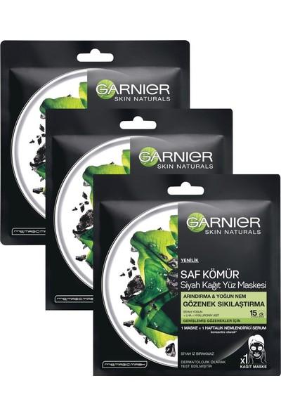 Garnier Kömürlü Kağıt Yüz Maskesi Gözenek Sıkılaştıma 28 gr 3 Adet
