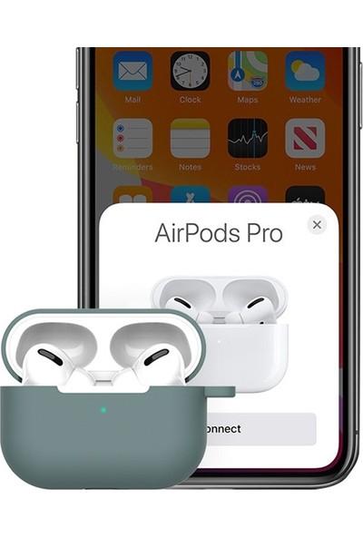 Ally Apple Airpods Pro İnce Slim Silikon Kılıf + Anahtarlık AL-31687 Yeşil