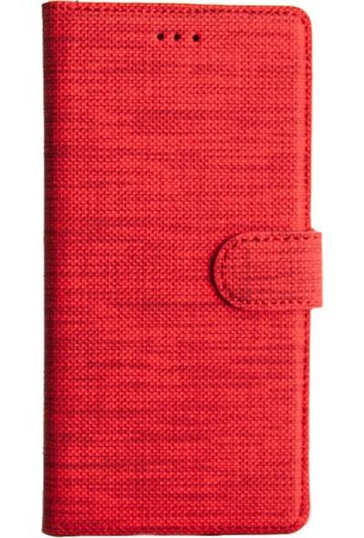 CoverZone Alcatel 3x 2019 Standlı Kartvizitli Para Gözlü Kumaş Desen Mhm Kırmızı
