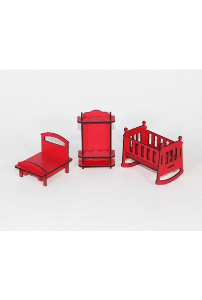 Hayal Oyuncak Ahşap Oyuncak Barbi Bebek Evi Eşyaları - Kırmızı