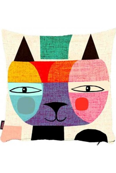 Bengü Accessories Kedi Baskılı Dekoratif Yastık & Kırlent 89