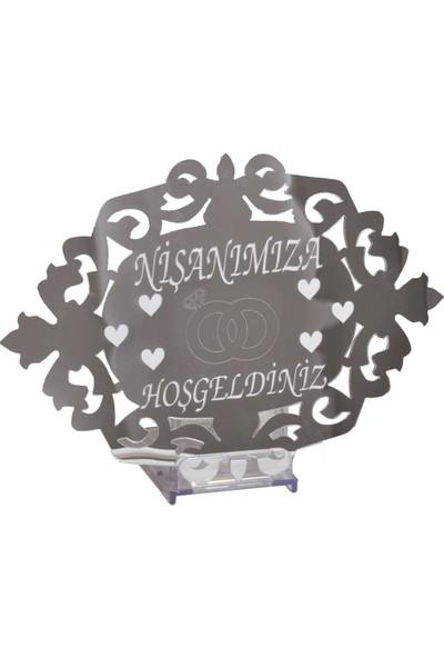 PartiPan Nişanımıza Hoşgeldiniz Pleksi Kapı Duvar Süsü Gümüş
