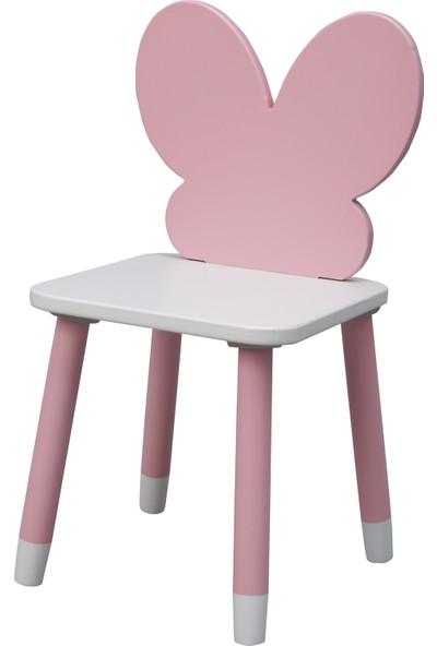 Viviki Pembe Piti Çocuk Odası Ahşap Aktivite Masası Fly Sandalye