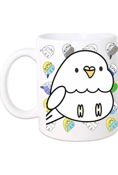 Kuş Arkadaşım Muhabbet Kuşu Kupa Arkası Desenli Beyaz