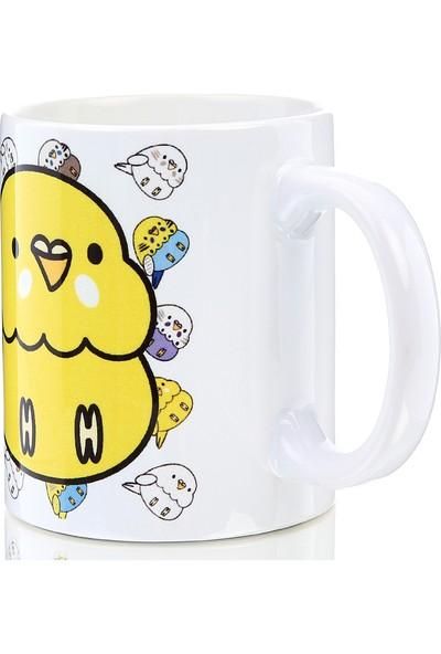 Kuş Arkadaşım Muhabbet Kuşu Kupa Arkası Desenli Sarı