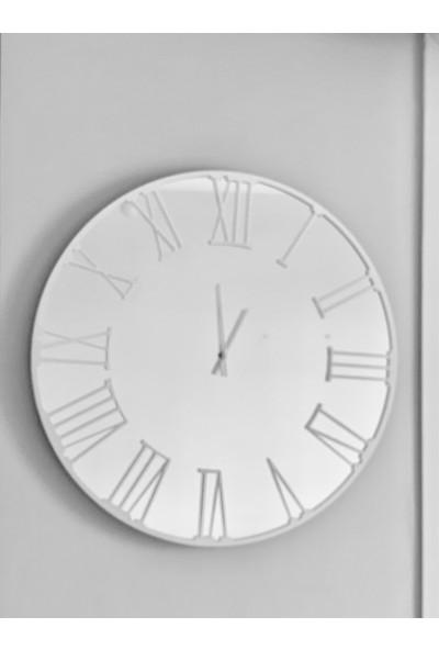 Perim Decor Roma Rakamlı Aynalı Beyaz Duvar Saati