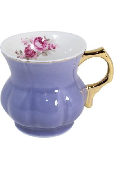 Arow Çiçek Detaylı Lila Porselen Kupa Bardak