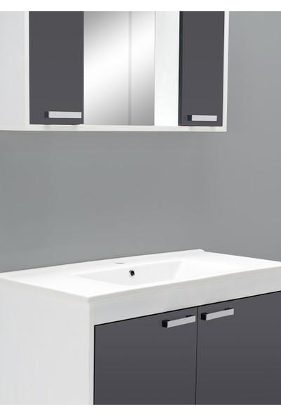 Livea Omega 100 cm Antrasit Beyaz Asma Banyo Dolabı