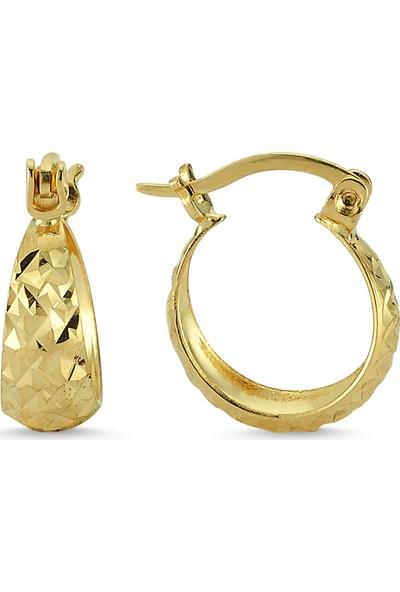 Aypa Mücevher Sarı Altın Halka Küpe