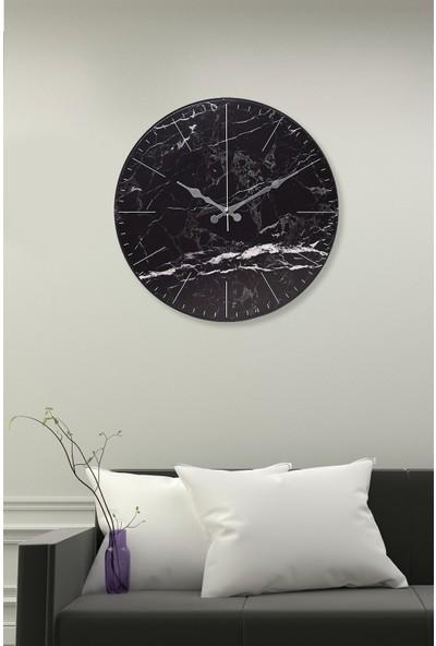 Muyika Nero Marmo Oval Cam Mermer Desenli Duvar Saati 36 cm