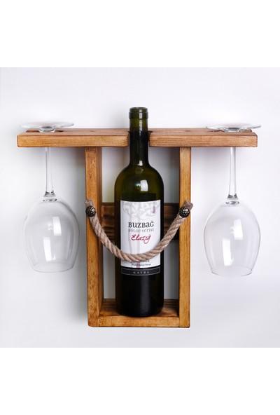 Horaven Ahşap Rustik Masaüstü Şaraplık Raf