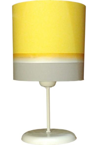 Ege Light Gri Sarı Çocuk Odası Abajur Masa Lambası