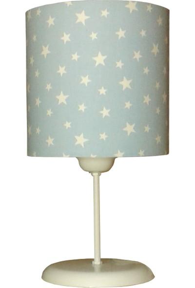 Ege Light Mavi Beyaz Yıldız Çocuk Odası Abajur Masa Lambası