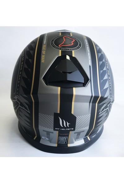 MT Kask Thunder 3 Mat Siyah Gold Güneş Vizörlü
