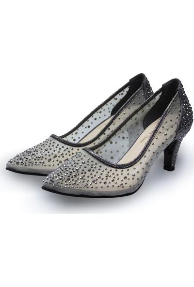 BB Shoes Sindy Abiye Düğün Ayakkabısı Antrasit Renk Kısa Model