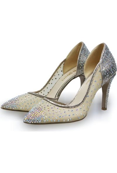 BB Shoes Sindy Abiye Düğün Ayakkabısı Yanı Açık Dore-Altın Renk
