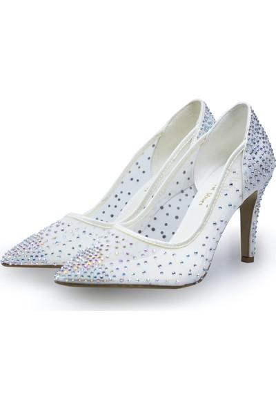 BB Shoes Sindy Abiye Düğün Ayakkabısı Sedef Beyaz Renk