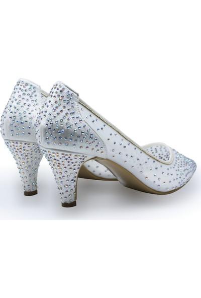 BB Shoes Sindy Abiye Düğün Ayakkabısı Sedef Beyaz Renk Kısa Model