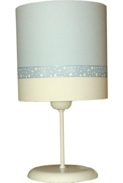 Ege Light Mavi Beyaz Yıldızlar Çocuk Odası Abajur Masa Lambası