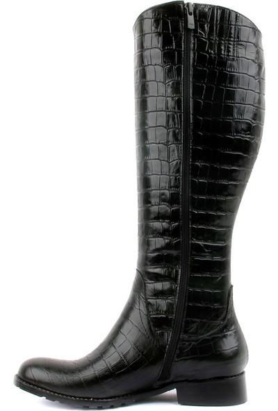 Sail Laker's Haki Deri Croco Desenli Kadın Çizme