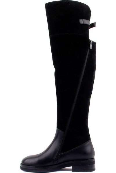 Sail Laker's Siyah Süet Deri Fermuarlı Kadın Çizme