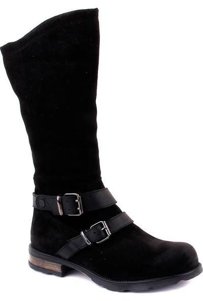 Sail Laker's Siyah Süet Fermuarlı Kadın Çizme