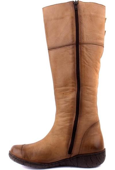 Sail Laker's Taba Deri Fermuarlı Kadın Çizme