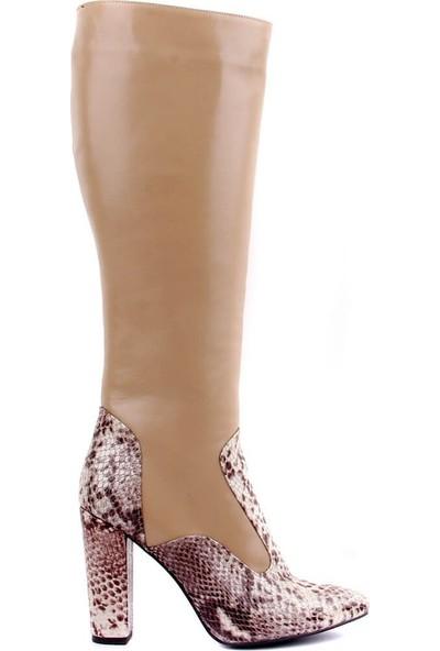Sail Laker's Bej Deri Desenli Fermuarlı Kadın Çizme