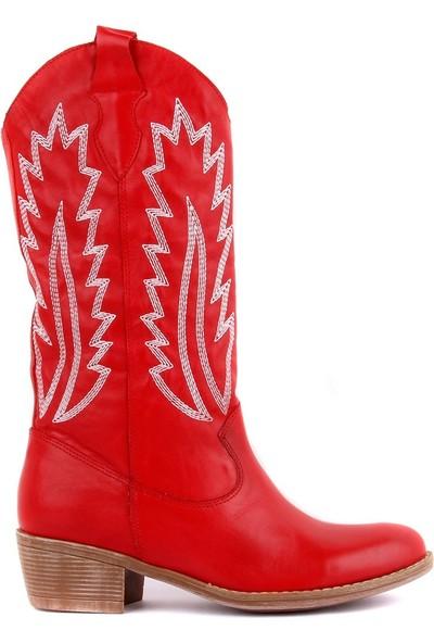 Sail Laker's Kırmızı Deri Nakışlı Kadın Çizme