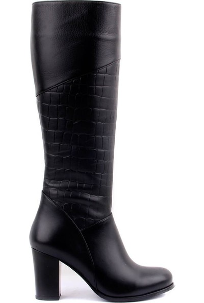 Sail Laker's Siyah Deri Fermuarlı Kadın Çizme