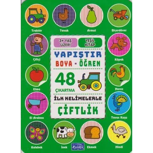 Yapıştır Ve Boya Öğren-Çiftlik-Yeşil Kitap 3 Yaş Üzeri