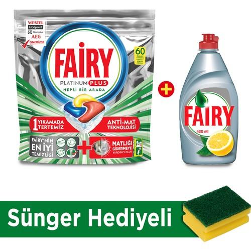 Fairy Platinum Plus 60 Yıkama + Fairy Platinum 430 ml Sıvı Bulaşık Deterjanı Limon + Sünger