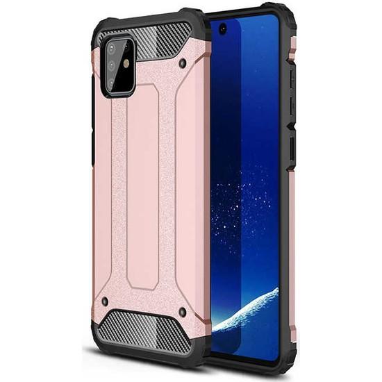 Case 4U Samsung Galaxy Note 10 Lite Kılıf Çift Katmanlı Zırh Koruma Tank Crash + Nano Cam Ekran Koruyucu Rose Gold