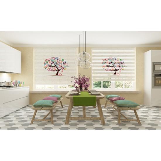 ZebraEvim Mutfak Ağacı Dijital Baskılı Piliseli Zebra Perde