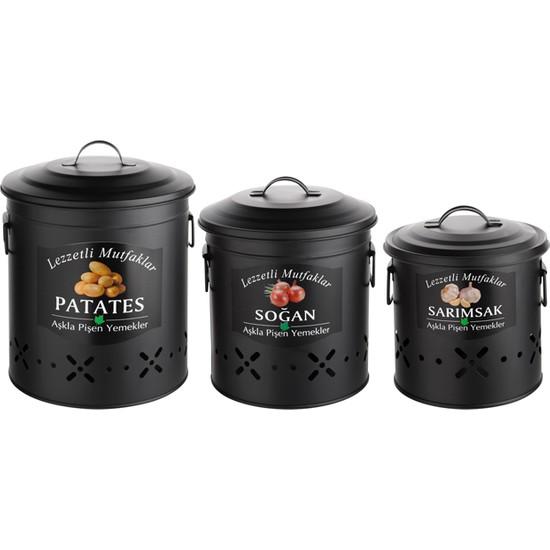 Pazar İstanbul Metal 3 Lü Patates Soğan Sarımsak Kabı Siyah