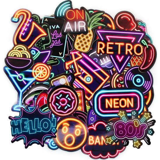 Art Point Neon Sticker Retro Çıkartma 51 Adet - NS01