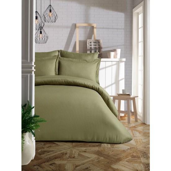 Soley Elegante Çift Kişilik Çizgili Saten Nevresim Takımı Haki Yeşili