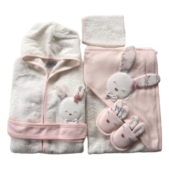 Gaye Kız Bebek Sevimli Tavşan Bornoz Takımı Doğal