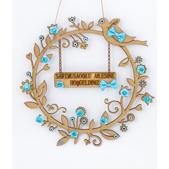Meşgalem Ahşap Kapı Süsü Dekoratif İsme Özel Kuş Figürlü Nazar Boncuklu