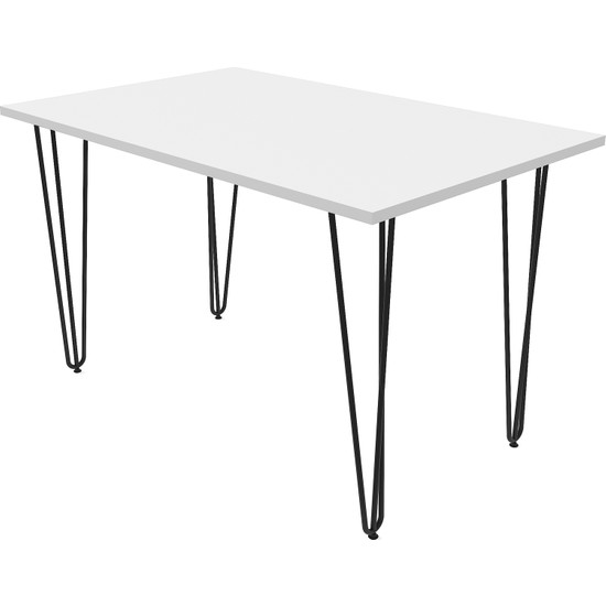 Wood House Asude Metal Ayaklı Masa Beyaz