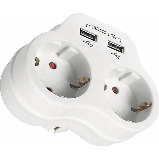 Viko Ikili Topraklı ve USB Çıkışlı Fiş Priz (1.1 Amper) - Beyaz