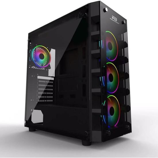 Powerboost X-59 USB 3.0 Tempered Glass 4 x Raınbow Fıxed LED Fanlı Oyuncu Kasa (Psu Yok)