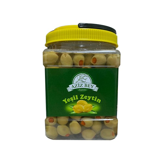 Azizbey Zeytinleri Sofralık Biberli Yeşil Zeytin Iri Kalibre 1 kg Pet