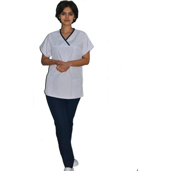 Palmiye Üniforma Pamuklu Kumaş Kadın V Yaka Beyaz Lacivert Biyeli Hemşire Forması Başhemşire