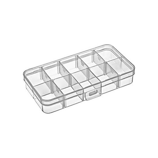 Hipaş Plastik - 10 Bölmeli Kapaklı Organizer Kutu 607 - 5 Adet