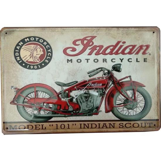 Indıan Motorcycle Motosiklet Temalı 20 x 30 cm cm Retro Metal Plaka