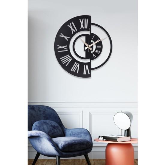 Muyika Ruota Metal Siyah Duvar Saati 41 x 41 cm